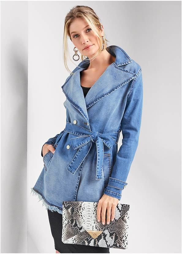Denim Trench Coat,Sleeveless Ruched Bodycon Midi Dress,Circle Detail Booties,Python Clutch
