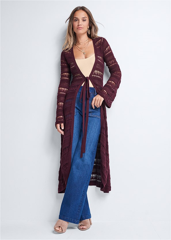 Long Crochet Duster,Ribbed Mesh Seamless Top,Casual Bootcut Jeans,Peep Toe Booties,Layered Coin Detail Choker,Beaded Leaf Shape Earrings