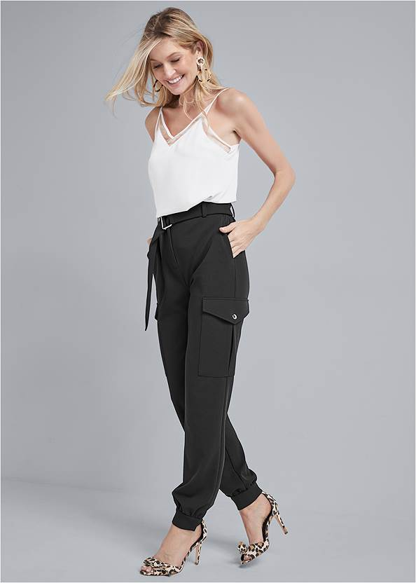 Belted Cargo Pants,Mesh Insert Tank,Bow Detail Print Heels,T-Strap Ankle Heels,Coin Drop Earrings,Pleated Tote Bag