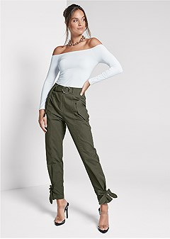 high waist belted pants