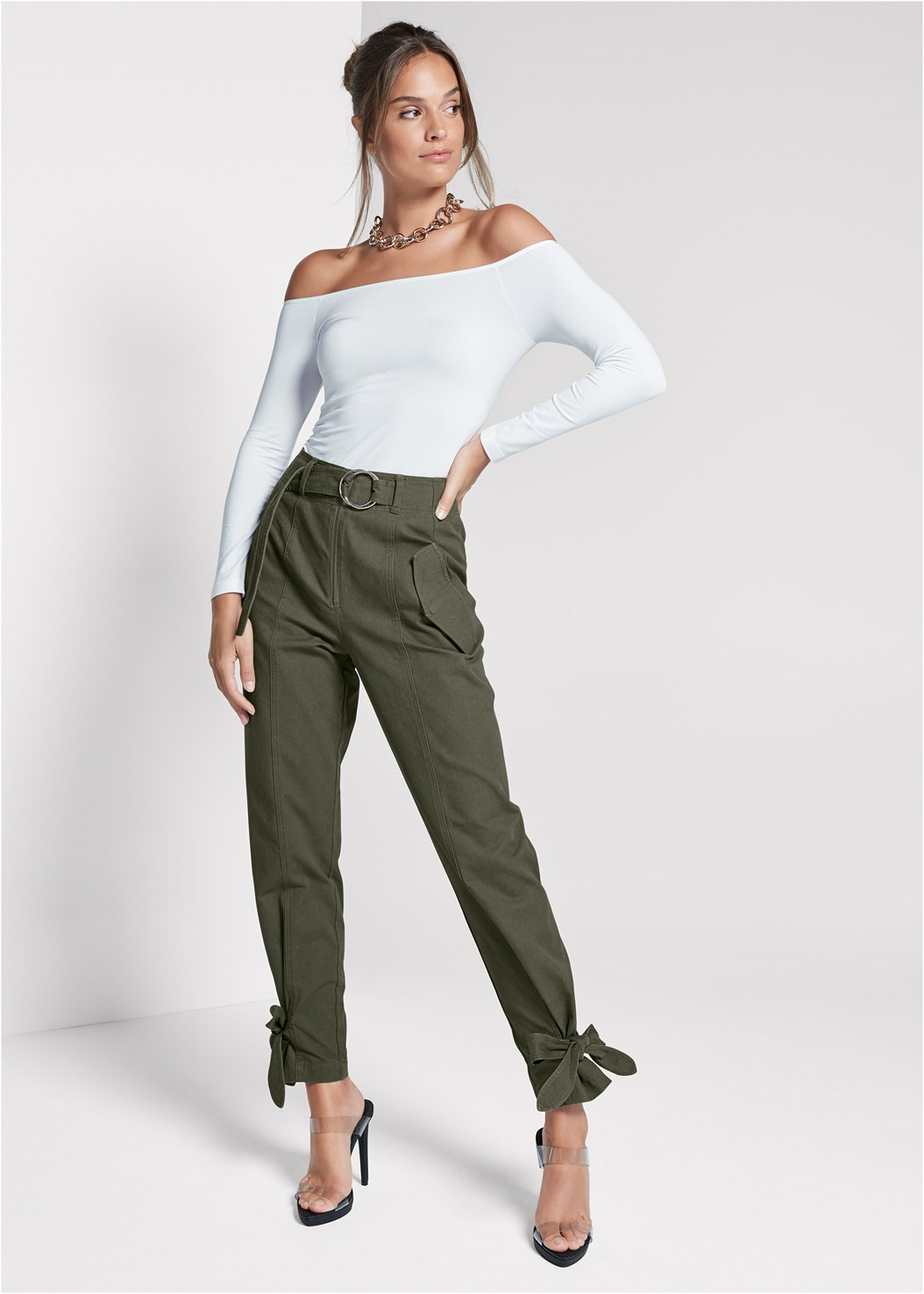High Waist Belted Pants,Off The Shoulder Top,Lucite Strap Heels
