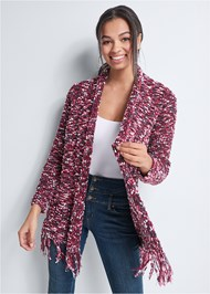 Front View Marled Knit Chenille Cardigan