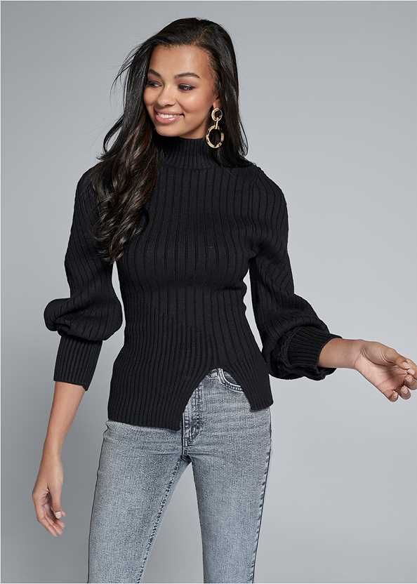 Balloon Sleeve Sweater,Washed Kick Flare Jeans