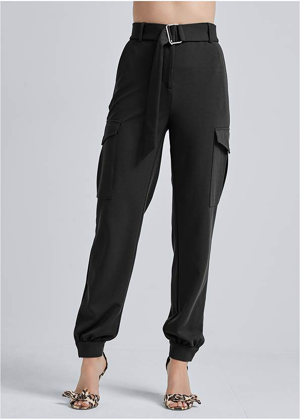 Waist down front view Belted Cargo Pants