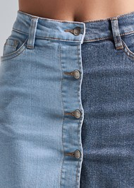 Alternate View Two Toned Denim Skirt