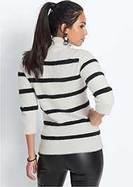 Back View Eyelash Turtleneck Striped Sweater