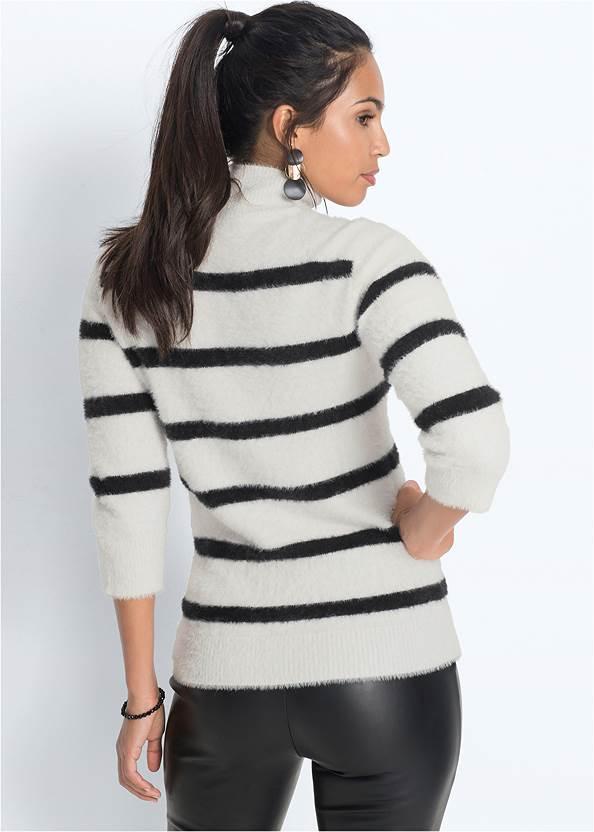 Cropped back view Eyelash Turtleneck Striped Sweater