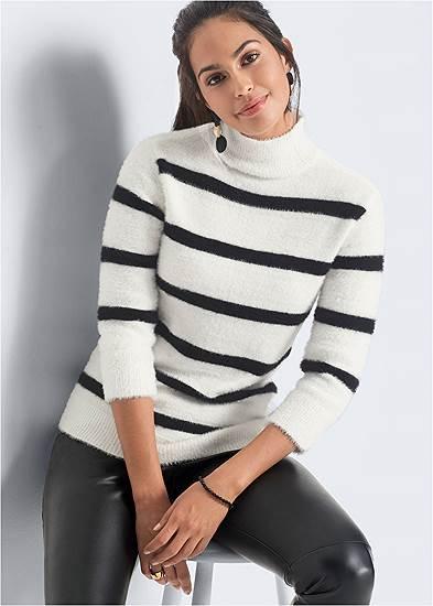 Plus Size Eyelash Turtleneck Striped Sweater