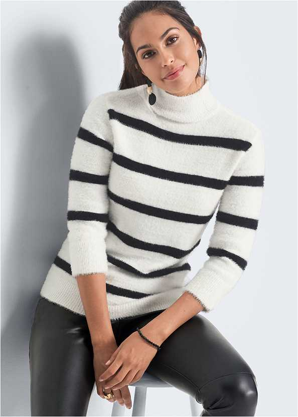 Eyelash Turtleneck Striped Sweater,Faux Leather Pants,Bauble Hoop Earrings