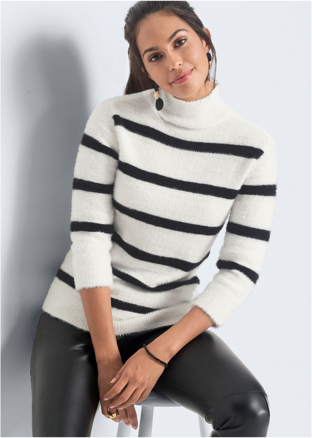 Eyelash Turtleneck Striped,Unlined Demi Bra,Faux Leather Pants,Block Heel Boots,Bauble Hoop Earrings