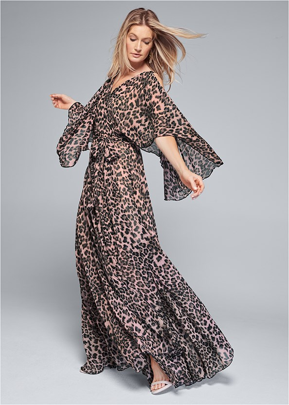 Animal Print Long Dress,Kissable Convertible Bra,Ankle Strap Heels