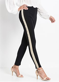 glitter side stripe legging