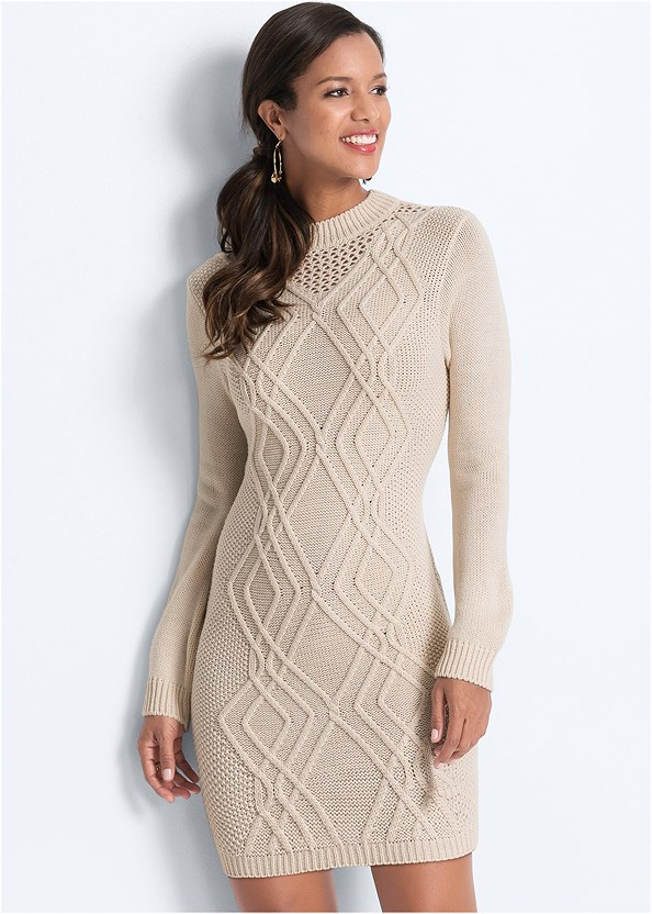 Cable Knit Sweater Dress,Seamless Unlined Bra,Wrap Stitch Detail Booties