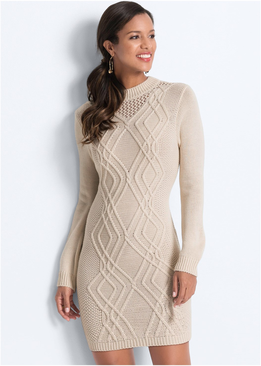 Cable Knit Sweater Dress,Seamless Unlined Bra