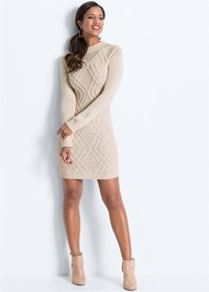 Full front view Cable Knit Sweater Dress