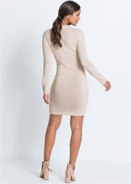 Full back view Cable Knit Sweater Dress