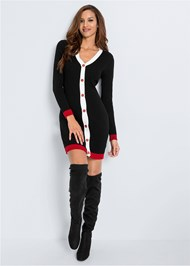 Full front view Button Detail Sweater Dress