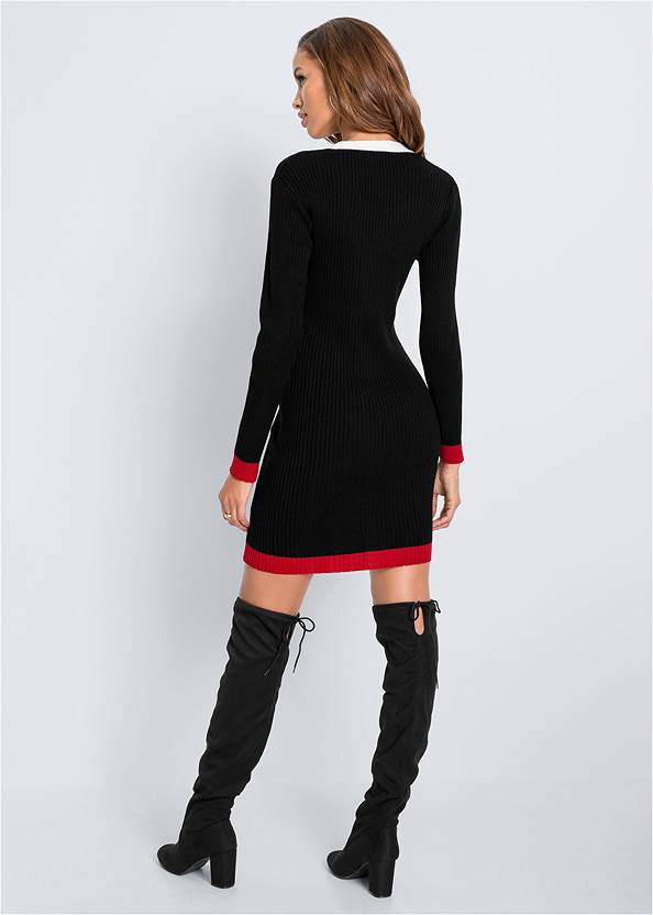 Full back view Button Detail Sweater Dress