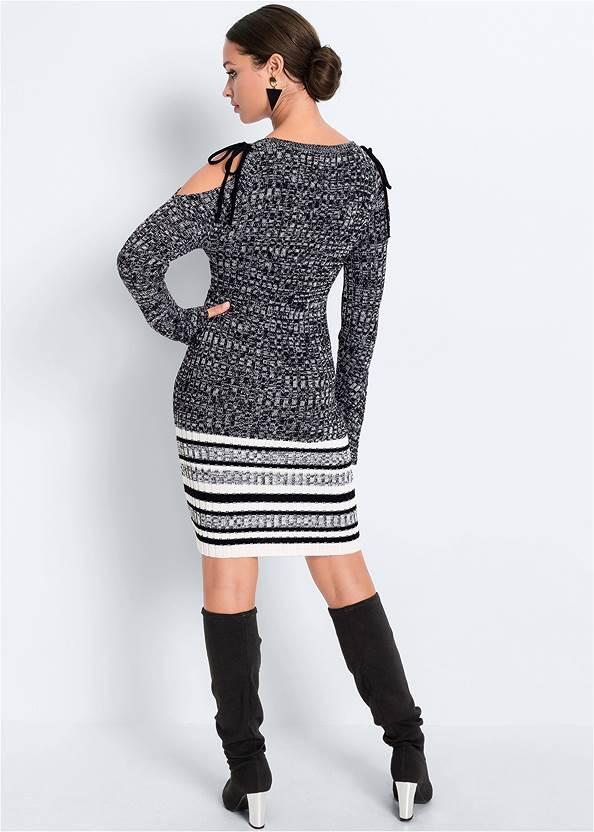 Full back view Cold Shoulder Sweater Dress