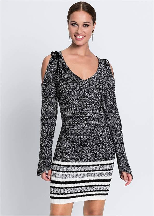 Cold Shoulder Sweater Dress,Stretch Back Boots
