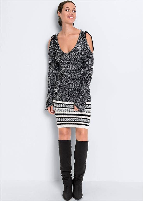 Full front view Cold Shoulder Sweater Dress