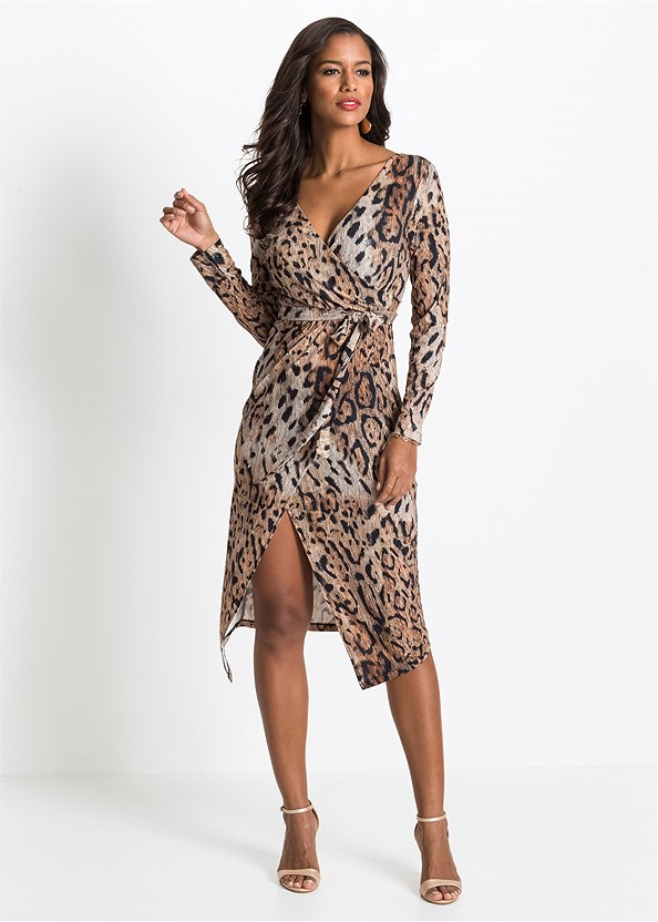 Leopard Printed Dress,Kissable Convertible Bra,Ankle Strap Heels