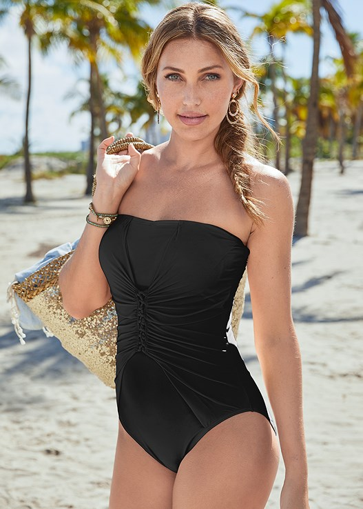 SLIMMING BANDEAU ONE PIECE,BLOUSON COVER-UP DRESS