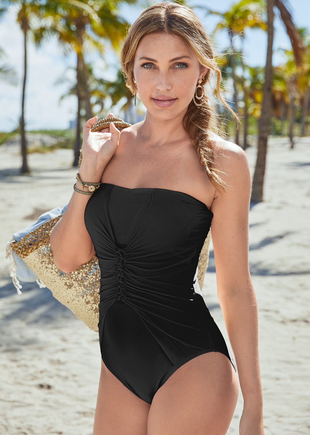 Slimming Bandeau One-Piece,Sequin And Straw Tote