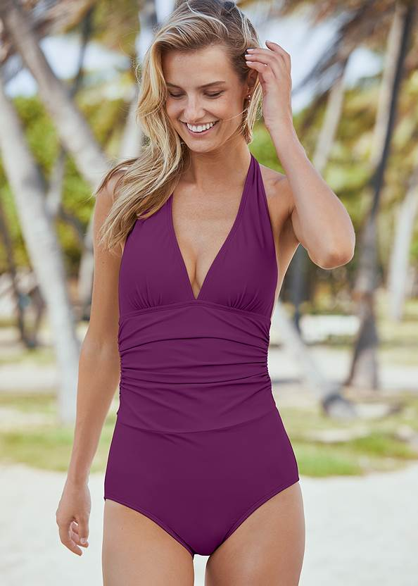 Slimming Halter One-Piece,Two Sets Of Sliders