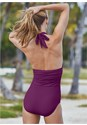 Cropped back view Slimming Halter One-Piece