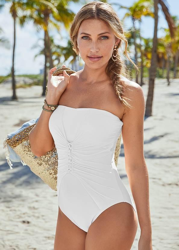 Slimming Bandeau One-Piece,Convertible Dress/Skirt,Textured Wide Strap Flatform Wedge,Tie Dye Tassel Earrings