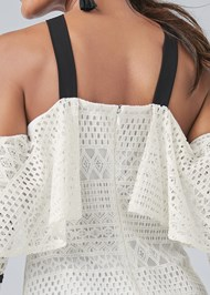 Alternate View Cold Shoulder Crochet Top
