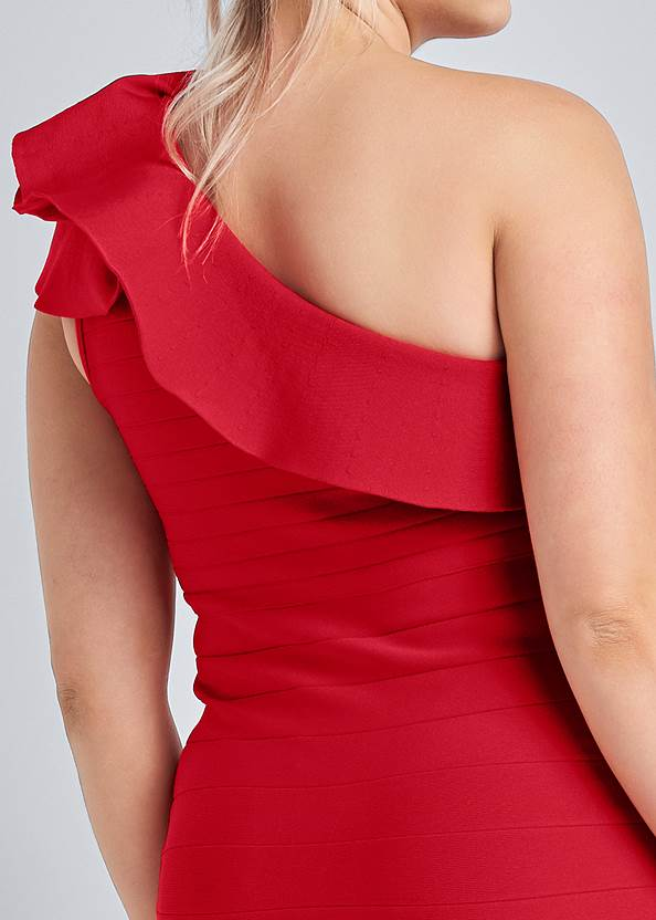 Alternate View One-Shoulder Ruffle Bandage Dress