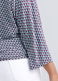Alternate View Banded Bottom Printed Top