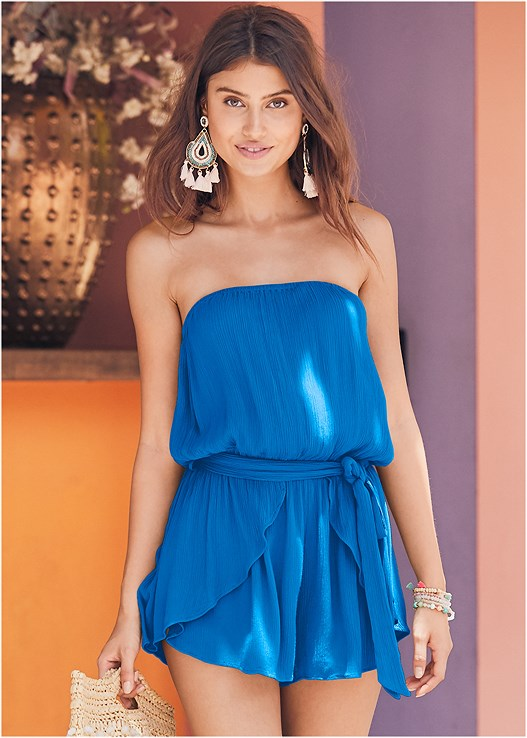 DRAPE COVER-UP ROMPER,STRAPPY BANDEAU TOP,MID RISE STRAPPY BOTTOM,ESPADRILLE PLATFORM WEDGES,SEQUIN AND STRAW TOTE