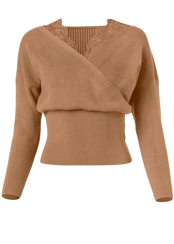 Alternate View Cross Front Lace Sweater