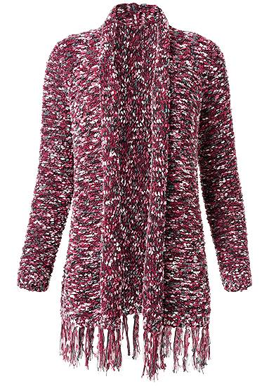 Plus Size Marled Knit Chenille Cardigan