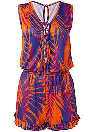 Alternate View Lace Up Romper Cover-Up