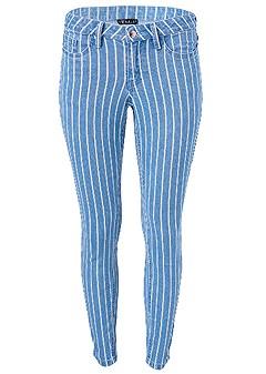 plus size pinstripe skinny jeans