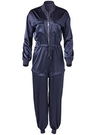 Ghost with background  view Satin Utility Jumpsuit