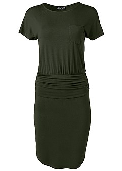 plus size ruched detail casual dress