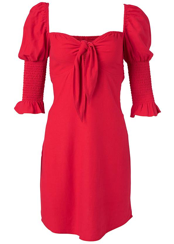 Ghost with background  view Puff Sleeve Linen Dress