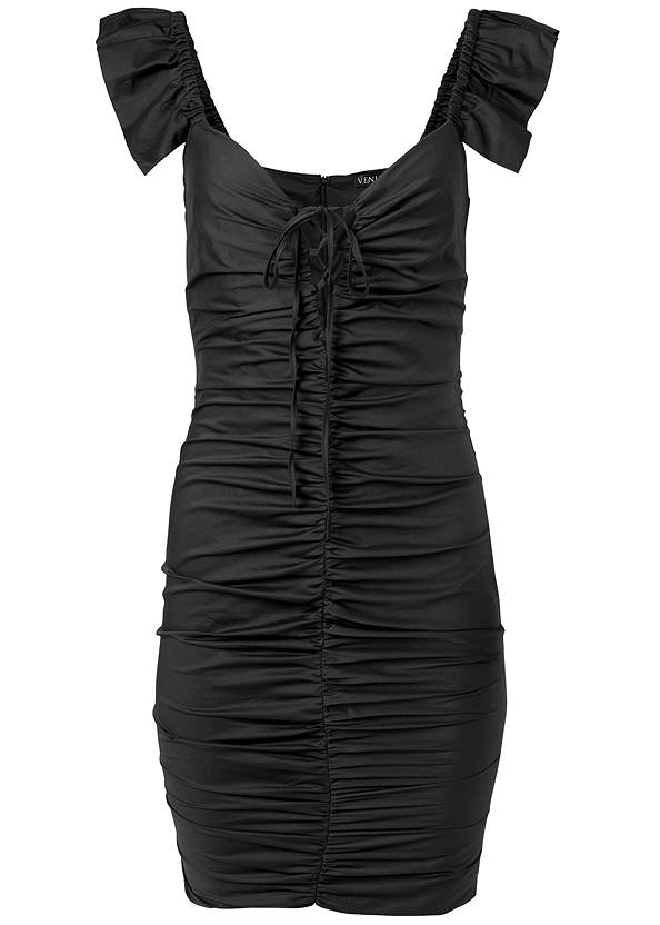 Ghost with background  view Ruched Lace Up Dress