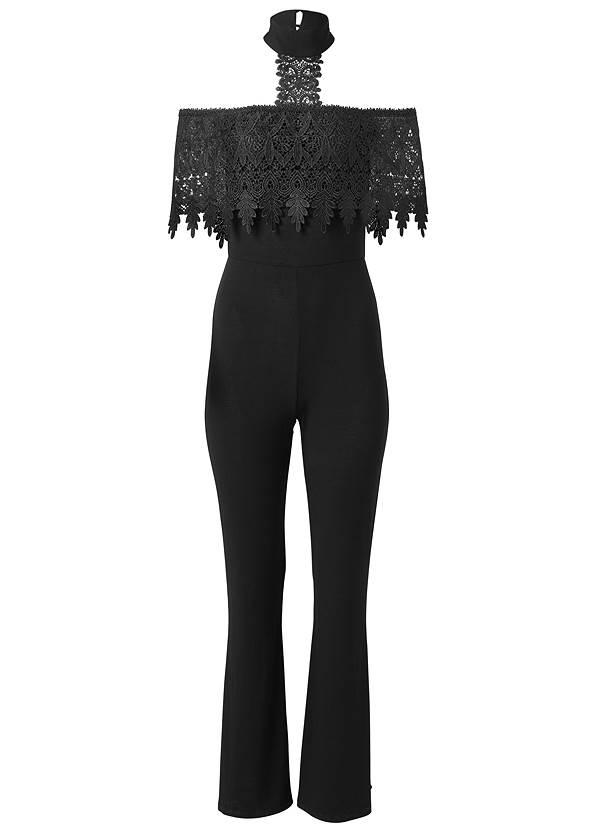 Alternate View Cold Shoulder Lace Jumpsuit