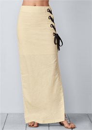 Waist down front view Lace Up Linen Maxi Skirt