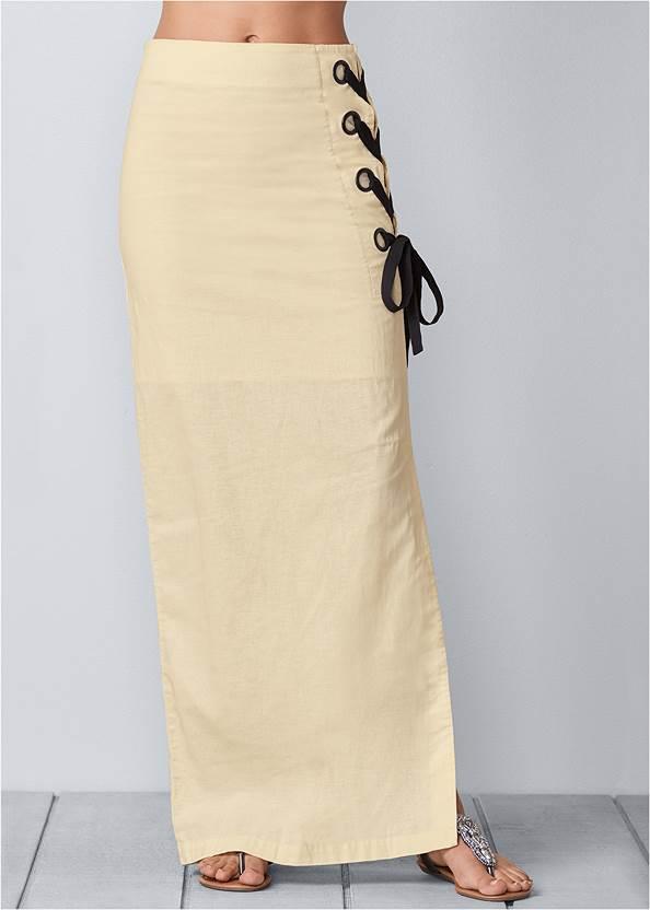Waist down front view Lace Up Linen Maxi Skirt