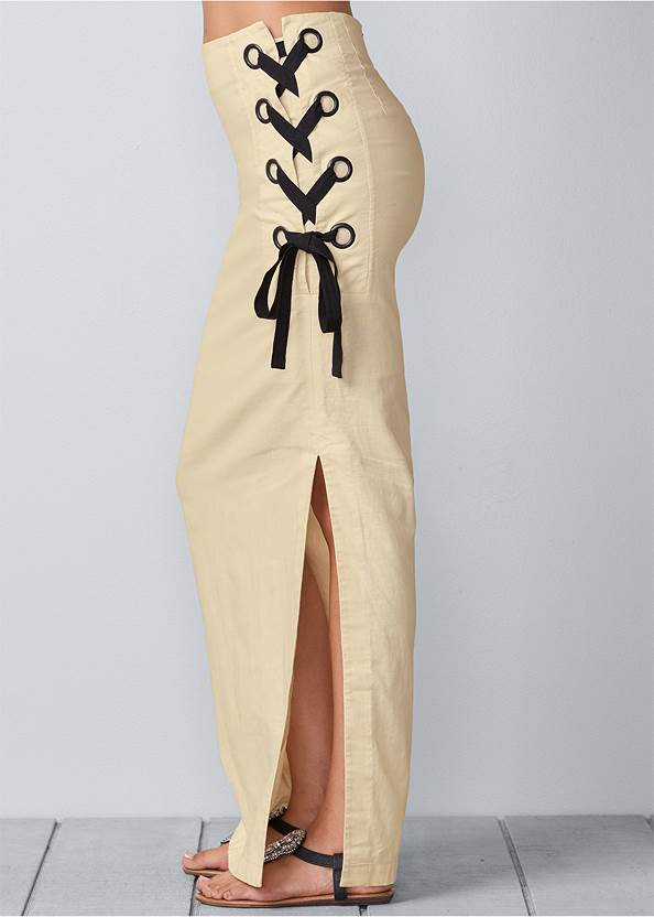 Waist down side view Lace Up Linen Maxi Skirt
