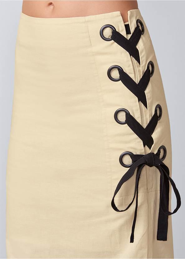 Detail  view Lace Up Linen Maxi Skirt