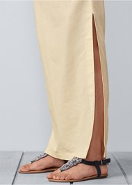 Detail  view Lace Up Linen Maxi Skirt