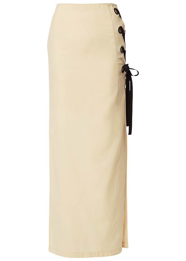 Ghost with background  view Lace Up Linen Maxi Skirt